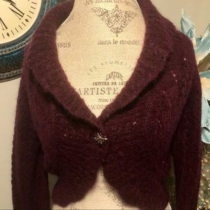 Loft cropped mohair/ Wool Burgundy cardigan